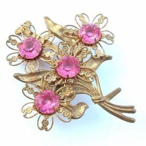 Antique Brooch Pink Rhinestone Vintage Flower Pin